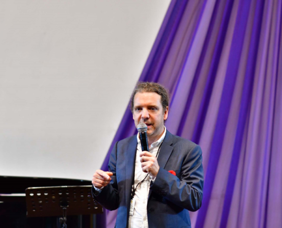 Daniel Taylor, countertenor and Professor of voice at the University of Toronto, speaking at the Masterclass for MUSON scholars sponsored by MTN Foundation recently
