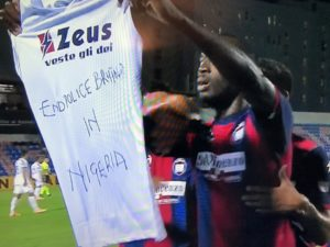 Nigerian Striker Shows Solidarity With #Endsars Protesters After Scoring Against Juventus