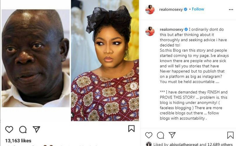 Omotola Jalade Ekeinde Reacts To Rumors Of Affair With Adams Oshiomhole