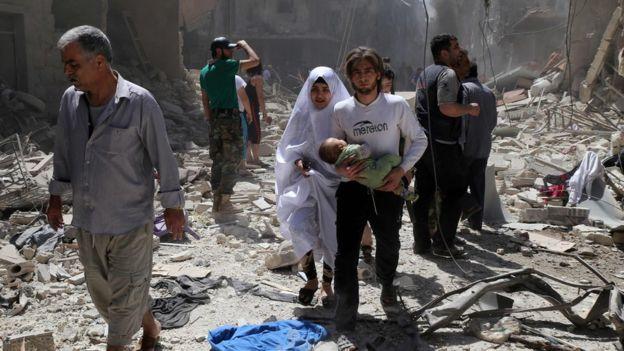 Scene of destruction in Aleppo