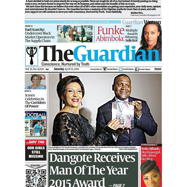 Chairman and Publisher of The Guardian, Maiden Alex-Ibru and Aliko Dangote at The Guardian Man of the Year award at Wheatbaker Hotel, Lagos