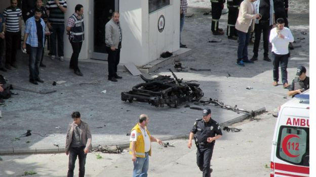 The bomb went off just outside a Police station