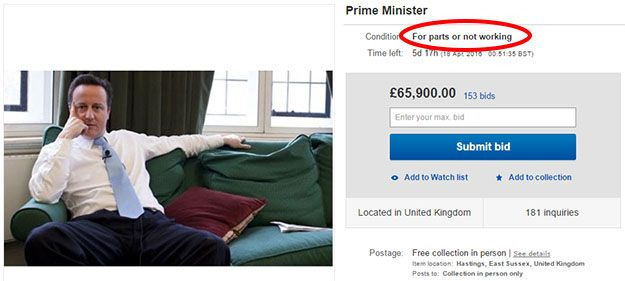 David cameron-ebay sale