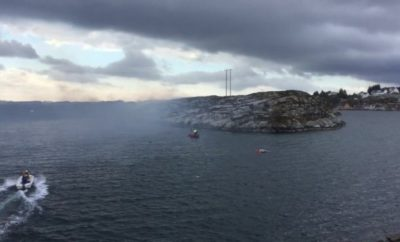 Scene of the helicopter crash in Norway
