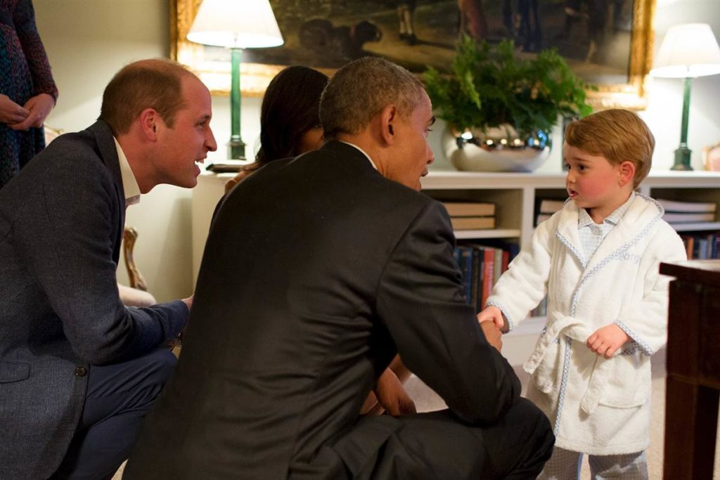 Prince George meets the President Barack Obama and First Lady Michelle Obama at Kensington Palace, London