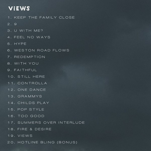 Track list for Views From the 6